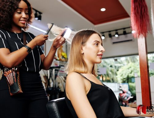 Young-woman-having-her-hair-done
